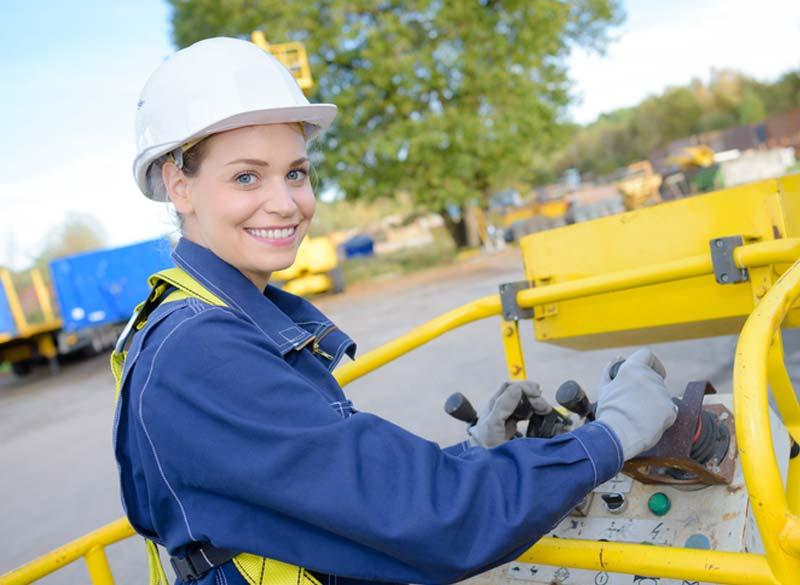 utility woman working machine
